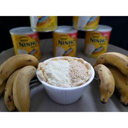 Açaí com Banana , Flocos de Arroz e Ninho