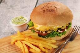 Giant Picanha Cheese Burger Salad  C/ Fritas (250 G. de Carne)