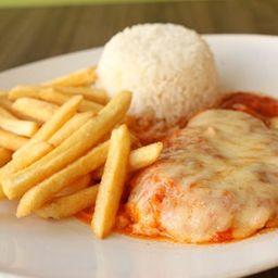 Filet de frango parmegiana + coca 220ml cortesia