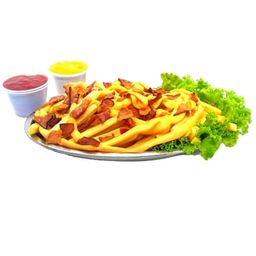 Batata frita palito com cheddar e bacon