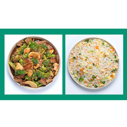 Carne com Brócolis e Arroz Chop Suey