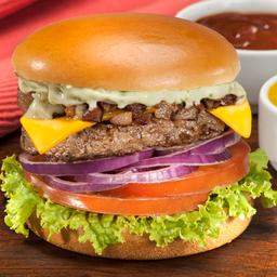 Bacon cheeseburger + 5 toppings grátis!
