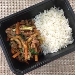 Shimeji com legumes + arroz branco