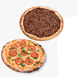 Pizza Tradicional Grande + Pizza Doce Pequena