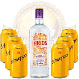 Kit Gin Importado Larios 700ml e 6 Águas Tônicas Schweppes