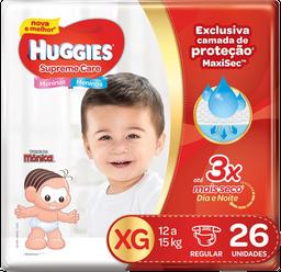 Fralda Huggies Supreme Care Mega Tamanho Xg Com 26 Unidades