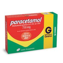 Paracetamol 750mg Com 20 Comprimidos Generico Cimed