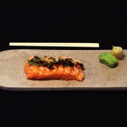 Sashimi tataki com alho-poró