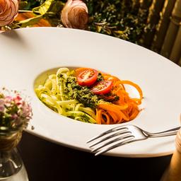 Espaguete de Legumes ao Molho Pesto