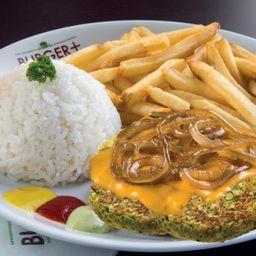 Hambúrguer Vegetariano com Queijo e Cebola