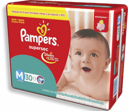 FRALDA PAMPERS SUPERSEC TAMANHO M 30UN