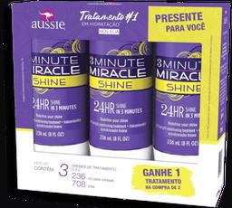 Kit Creme de Tratamento Aussie Shine 3 Minute Miracle 236ml