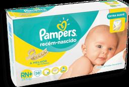 Pampers Recém- Nascido Fraldas Descartáveis RN+ 38U