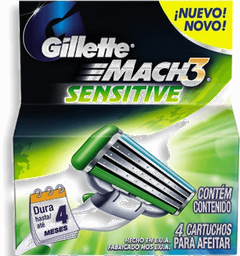 Mach 3 Sensitive Carga Com 4 Und