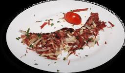 Tapioca Carne Seca Cebola e Queijo Coalho