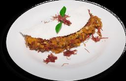 Tapioca Carne Seca Purê de Abóbora e Queijo Coalho