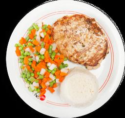 Frango com selete de legumes e arroz