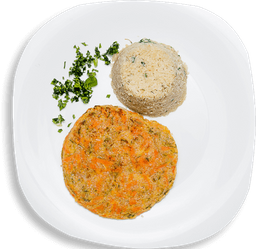 Arroz Falso e Hambúrguer de Quinoa com Legumes
