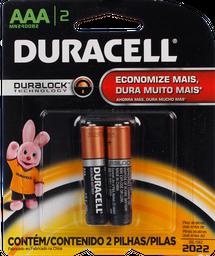 Pilhas Duracell Alcalinas AAA Palito Com 2 U