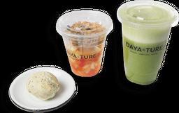Salada de frutas, pão de chia e suco verde