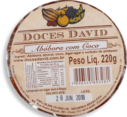 Doce De Abóbora Com Coco Doces David 220g