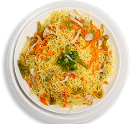 Macarrão Bifum com Legumes ao Curry + Salada