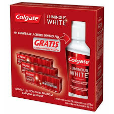 Kit Creme Dental Colgate Luminous White 70G C/3 Gratis Enxaguat