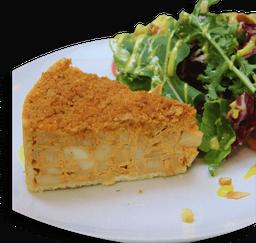 Torta de palmito com salada