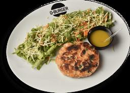 Salada com Burger Salmão 160g