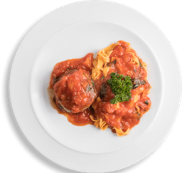 Fettuccini Pomodoro com Polpetone