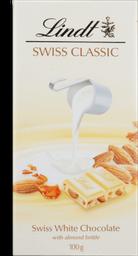 Chocolate Suíço Lindt Branco com Amêndoas Swiss Classic 100 g