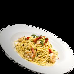 Spaghetti Com Gamberi, Aglio, Olio E Peperoncino
