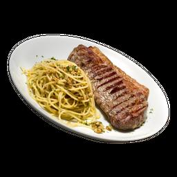 Bife De Chorizo Com Spaghetti Aglio Olio