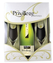 Peterlongo Espumante Privillege Brut Com 02 Tacas Kits