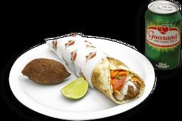 Kebab Shawarma de Frango + Batata Frita ou Kibe + Bebida em Lata