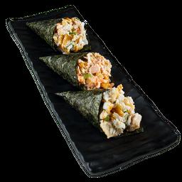 Três Mini Temakis - Salmão, Shimeji E Peixe branco