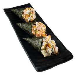 Três mini temakis - Salmão + shimeji + peixe branco