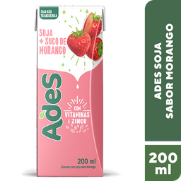 Alimento De Soja Ades Morango 200 mL