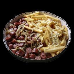 Linguiça calabresa com fritas,cebola e mussarela
