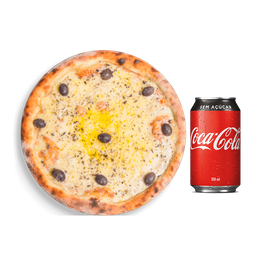 Pizza Mussarela + Coca-Cola Lata