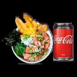 Poke Salmão + Coca-Cola Lata