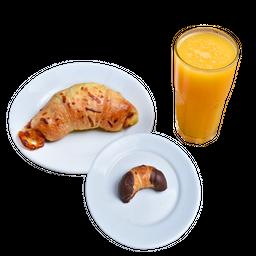 Croissant Presunto e Queijo + Croissant Chocolate + Suco