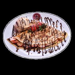 Crepe Chocolate Com Morango E Sorvete
