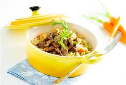 Risoto Cremoso com Tirinhas de Carne e Legumes