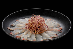 Carpaccio de Peixe Branco com Crispy de Cebola