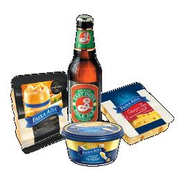 Happy Hour com Parmesão, Emmental, creme de Parmesão e cerveja