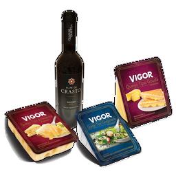 Happy Hour com Gorgonzola, Gouda, Emmental e vinho