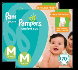 2 x Fralda Pampers Confort Sec M Super Pack 70 U