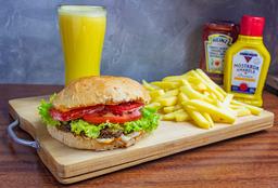 Vegans Burger + Fritas + Suco
