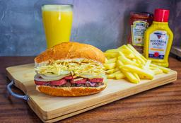 Grill Linguiça + Fritas + Suco